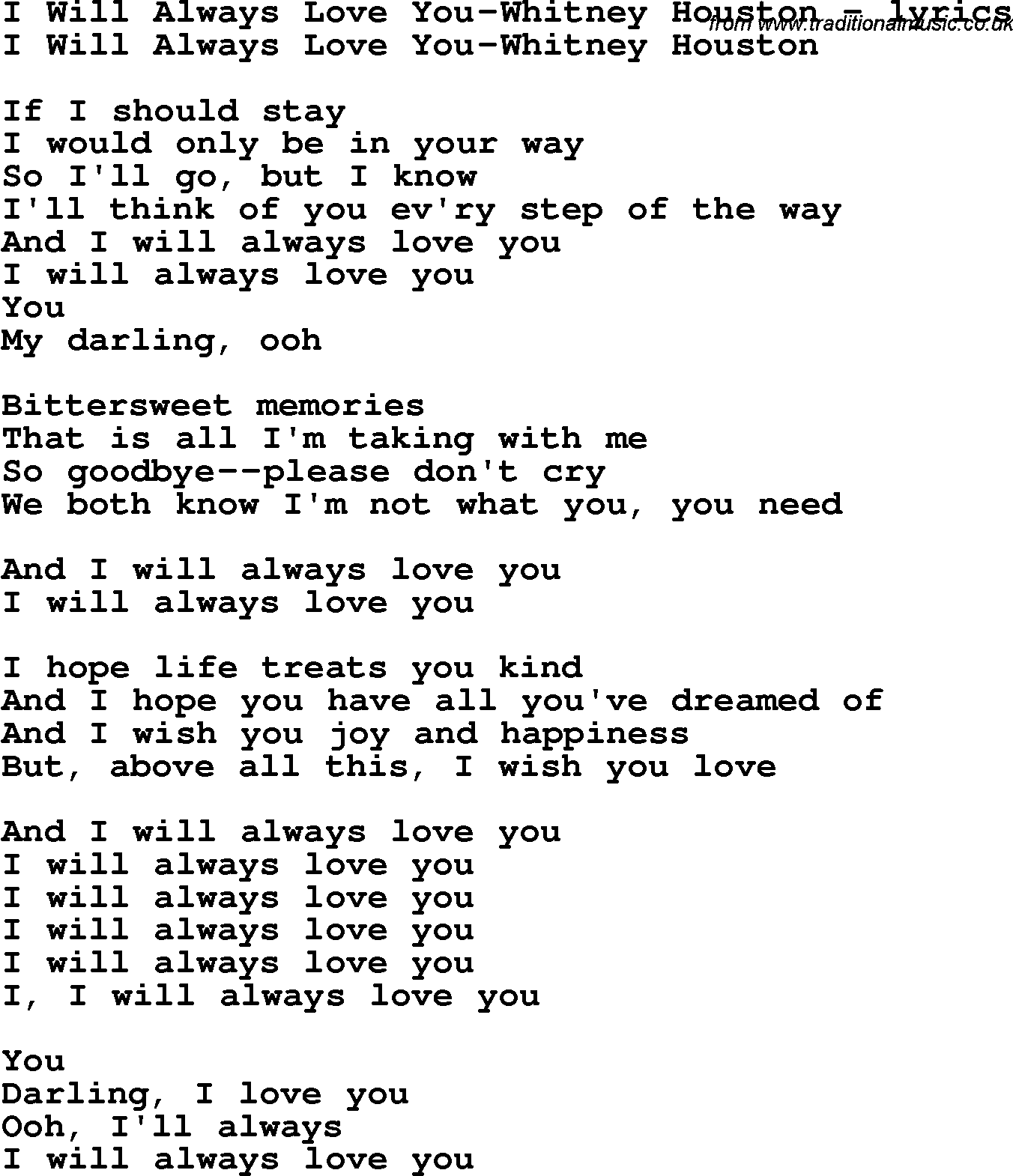 Love Song Lyrics Fori Will Always Love You Whitney Houston
