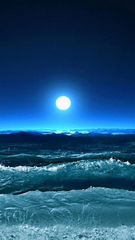 storm waves sea moon night manzara tablolar