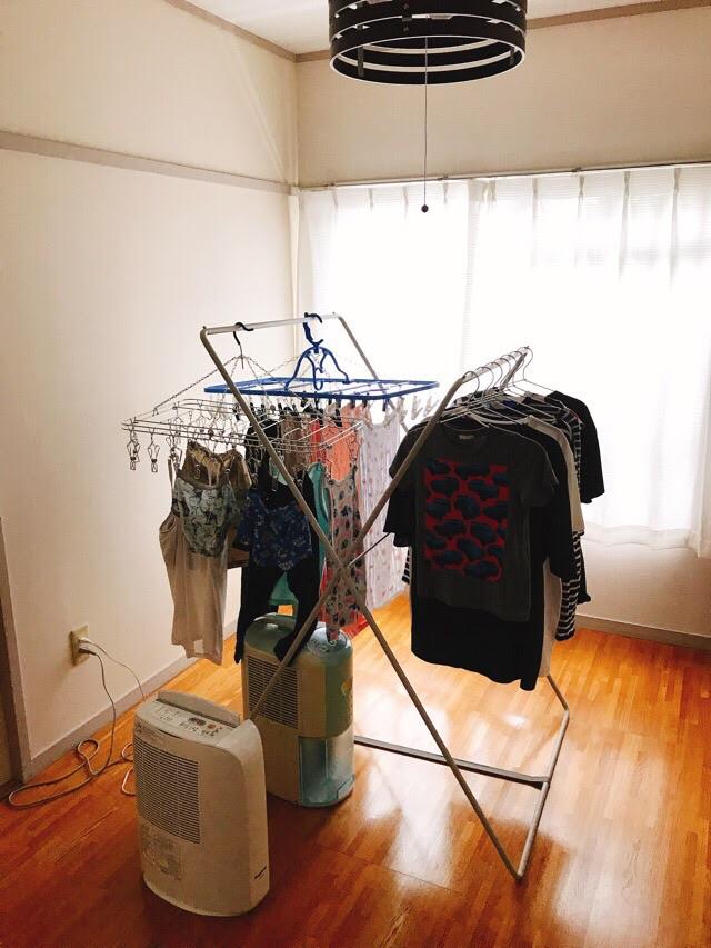 続部屋干しはこうやって乾かしています のんびり楽しく貯金