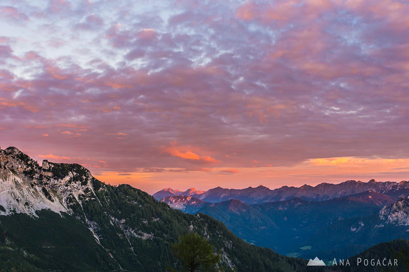 Colorful sunrise from Kranjska koča hut at Ledine