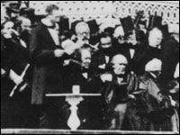 President Lincoln delivers his inaugural address on March 4, 1865.