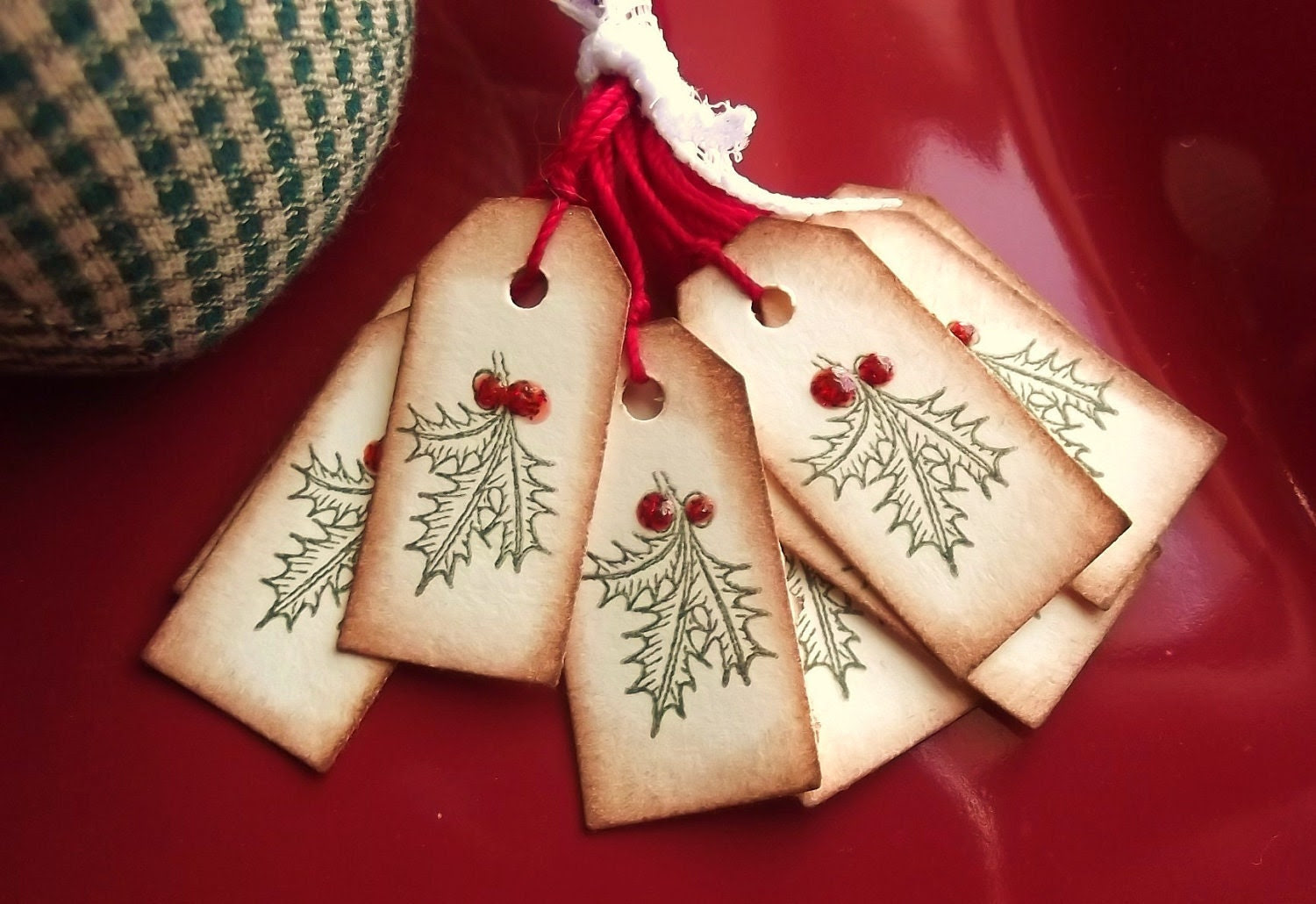 Holly and Berries Tiny Tags - Embellished with glitter and gloss