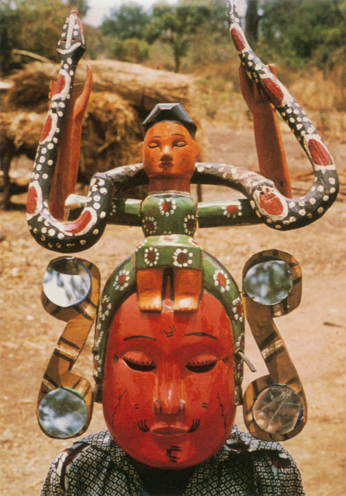 "ukpuru:   ""Mami Wata"" kwaghir mask owned by Aba [Tiv sculptor]. Agagbe district, Nigeria, 1978. Photo: S. L. Kasfir. This mask in the style of an Annang Ibibio work-shop may actually have been made by Aba.  — Sidney Littlefield Kasfir"