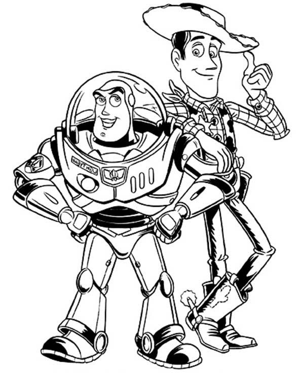 Buzz Lightyear and Woddy in Toy Story Coloring Page ...
