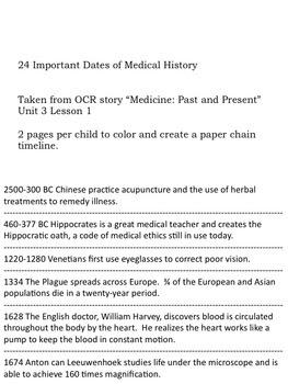 Timeline of Medicine (4th Grade OCR)