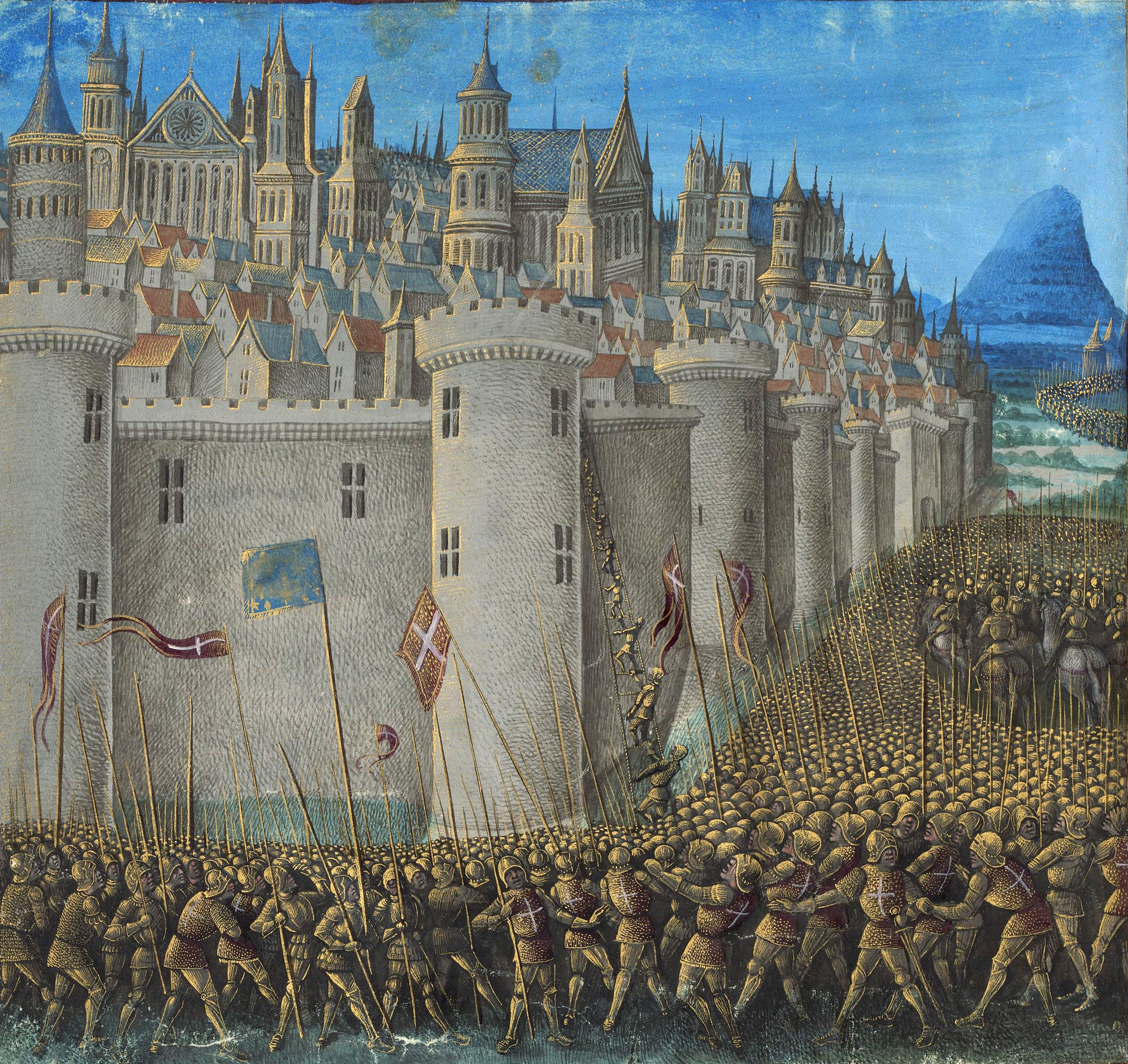 medieval miniature painting of the Siege of An...
