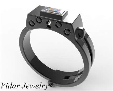 mens black gold diamond handcuff wedding band vidar