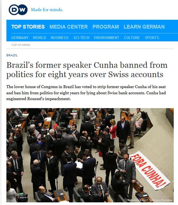 Deutsche Welle ressaltou que Cunha perdeu a imunidade parlamentar e corre o risco de ser preso (Foto: Reprodução/Deutsche Welle)