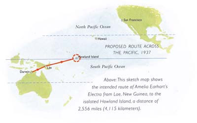 Last leg of Amelia Earhart's round the world trip.