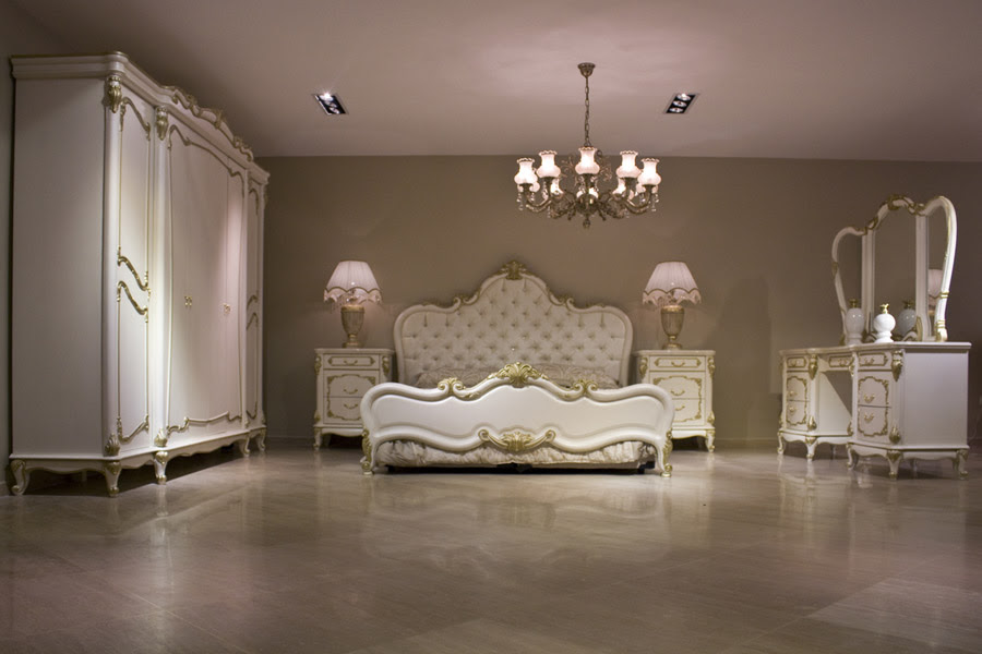 Classic Bedroom Interior Design with White Luxury Furniture