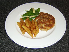 Turkey Steak Fried in Sage Breadcrumbs with Real Chips