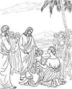 Dibujo De Jesús Con Niños Para Colorear Dibujos Para Colorear