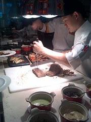 Carving tuna steaks