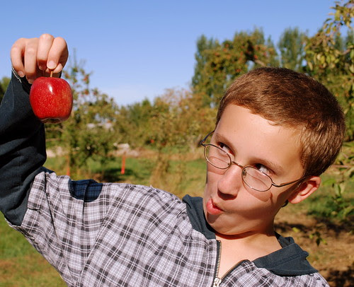 Apple Picking Evan with goofy face