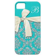 Elegant Aqua Silver Damask Diamond Bow Monogrammed iPhone 5/5S Cover