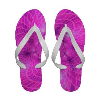 Neon pink abstraction sandals