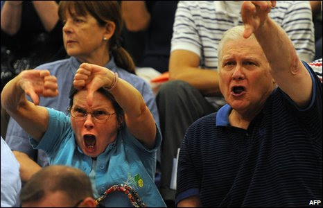 Angry opponents of the health care reform during a townhall meeting
