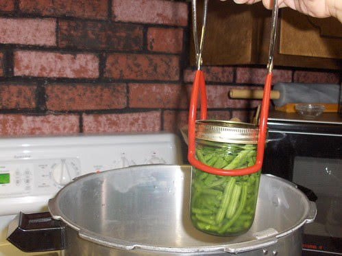 Putting jars into the canner