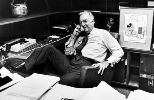 Famed CBS News anchor Walter Cronkite, in this March 6, 1981 photo, talks on the phone at his office, prior to his final newscast as CBS anchorman in New York City. (AP Photo)