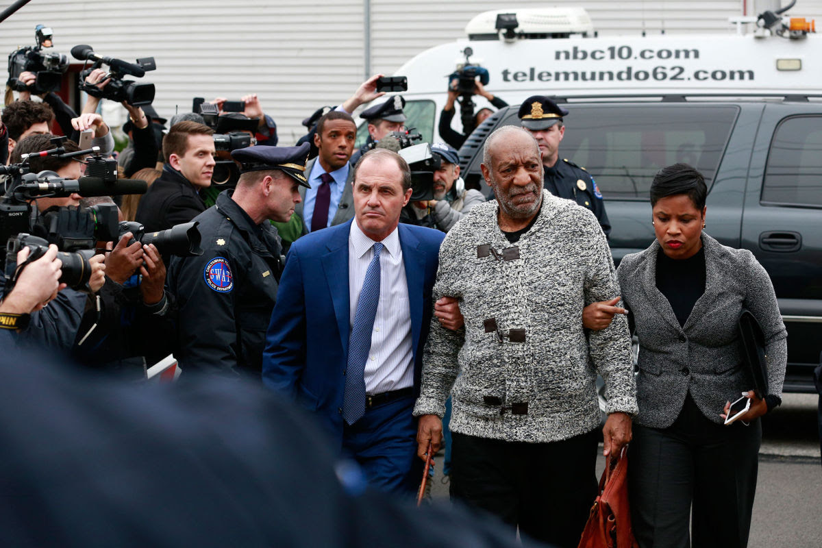 Bill Cosby outside his arraignment hearing in Cheltenham, Pennsylvania. He faces a charge of aggravated indecent assault.