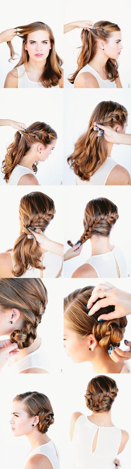 French braid into a bun tutorial... this is very pretty!