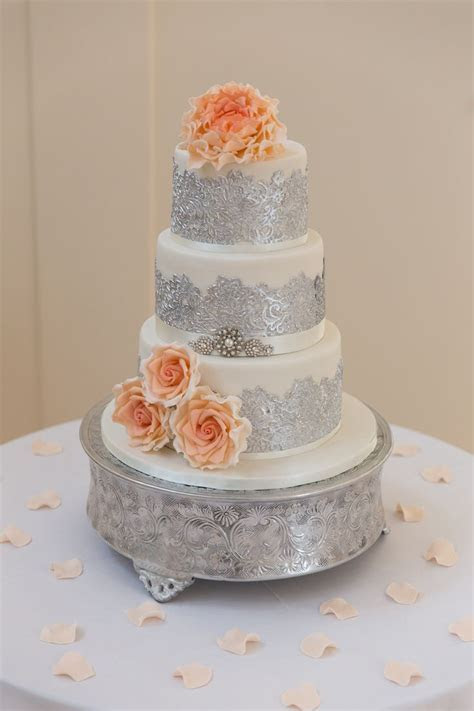Ivory, silver lace and coral and peach ombre flowers