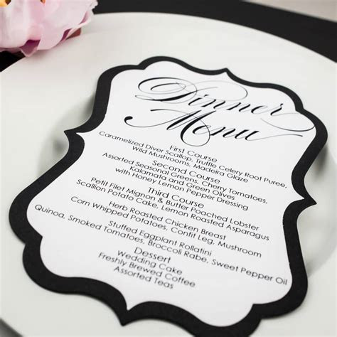 Black and White Wedding Menu Cards   Too Chic & Little