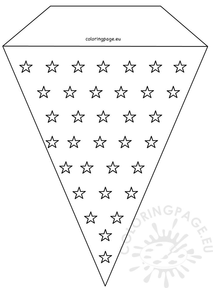 Stars 4th July Pennant Banner Template - Coloring Page