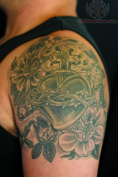 Roses And Sacred Heart Tattoo