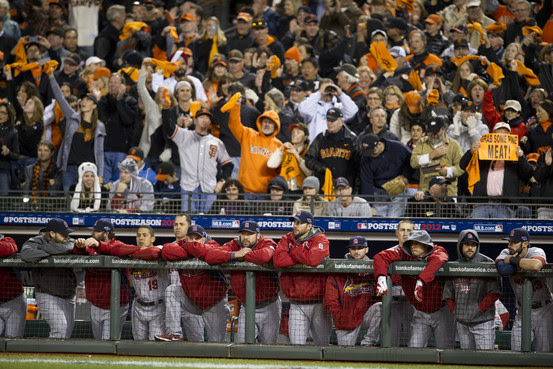 St. Louis Cardinal players line the dugout during Game 6 of the National League championship baseball series against the San Francisco Giants, Sunday, Oct. 21, 2012, in San Francisco.