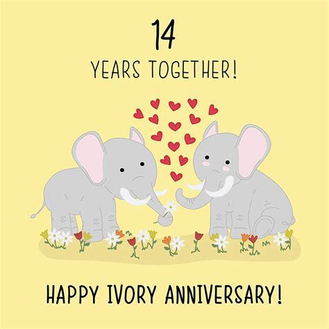 14th Wedding Anniversary Card   Ivory Anniversary
