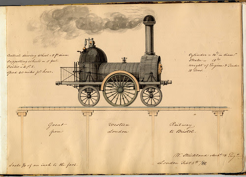 steam train - Great Western Railway (William Strickland Sketchbook, 1838) TEVA