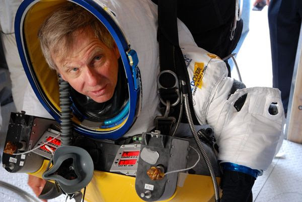 Google executive Alan Eustace gets prepped for his 136,000-foot skydive above Roswell, New Mexico...on October 24, 2014.