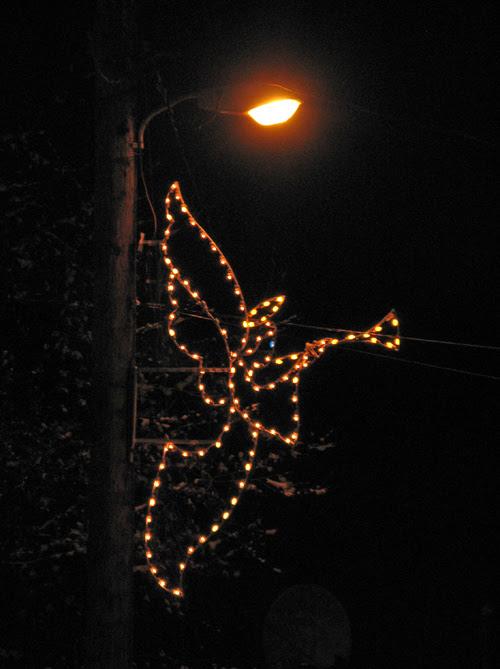 Christmas lights on streetlamp, Thorne Bay, Alaska