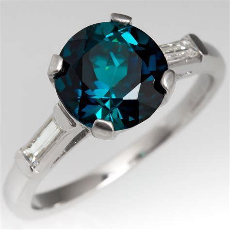 Blue Green Tourmaline Engagement Ring 1950's Platinum Mounting