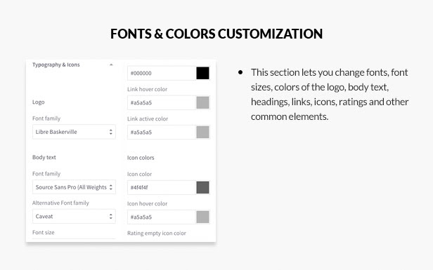 Fonts & Colors customization