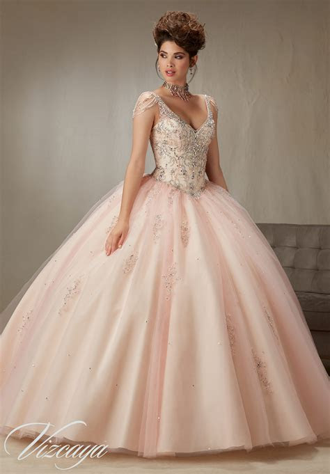 crystal sleeves quinceanera dress style  morilee