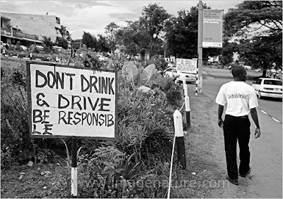 African sign saying don't drink & drive, be responsible!