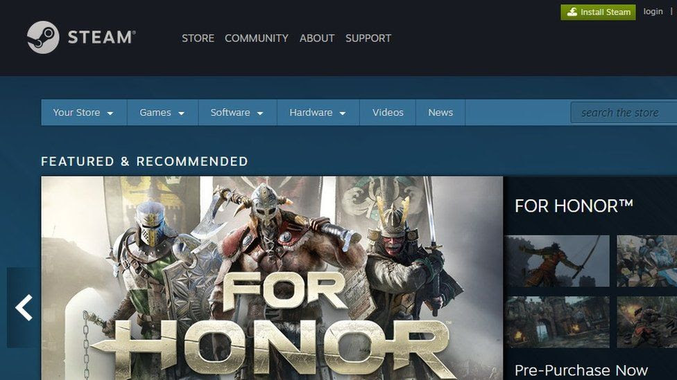 Screengrab of Steam homepage
