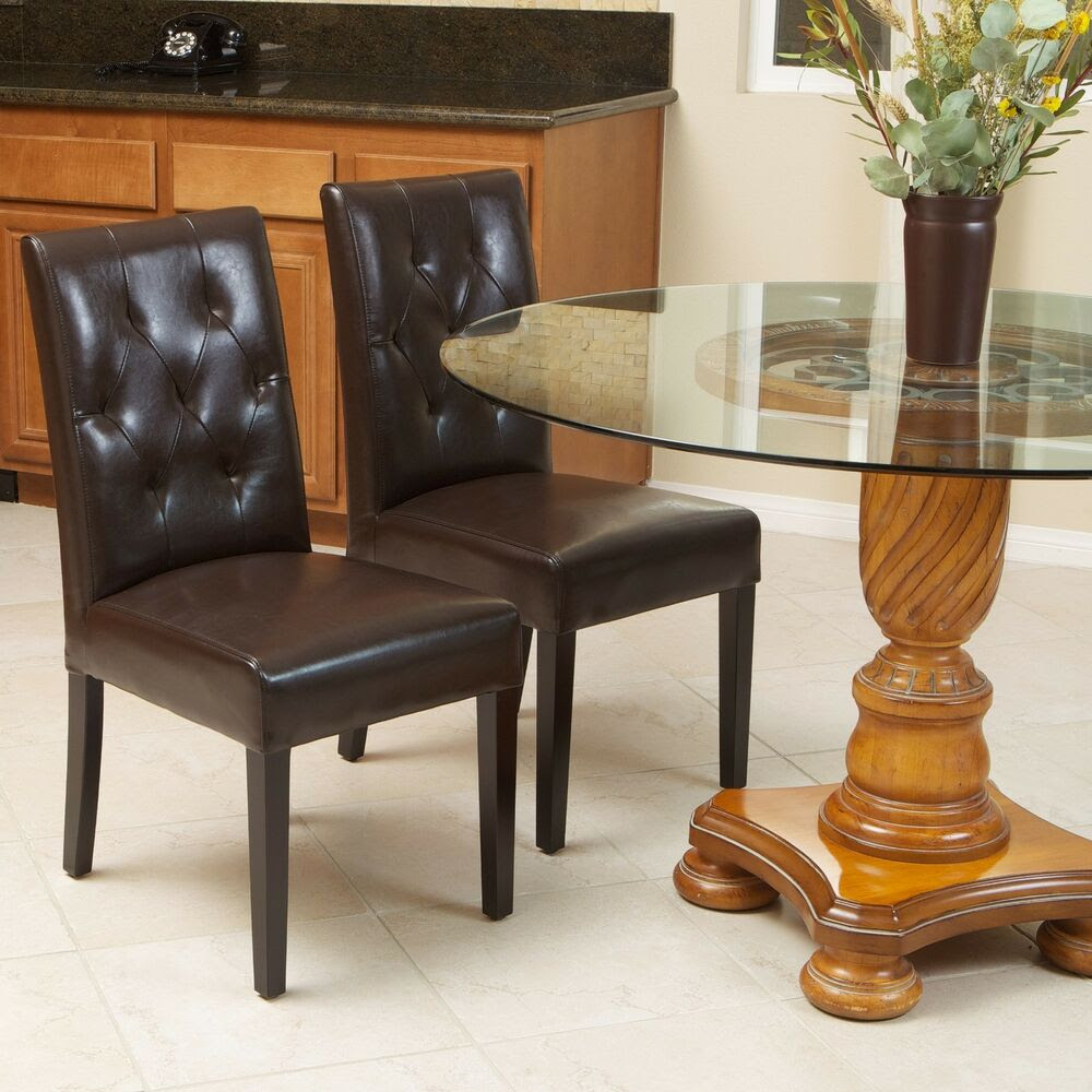 Set of 2 Elegant Brown Leather Dining Room Chairs With ...