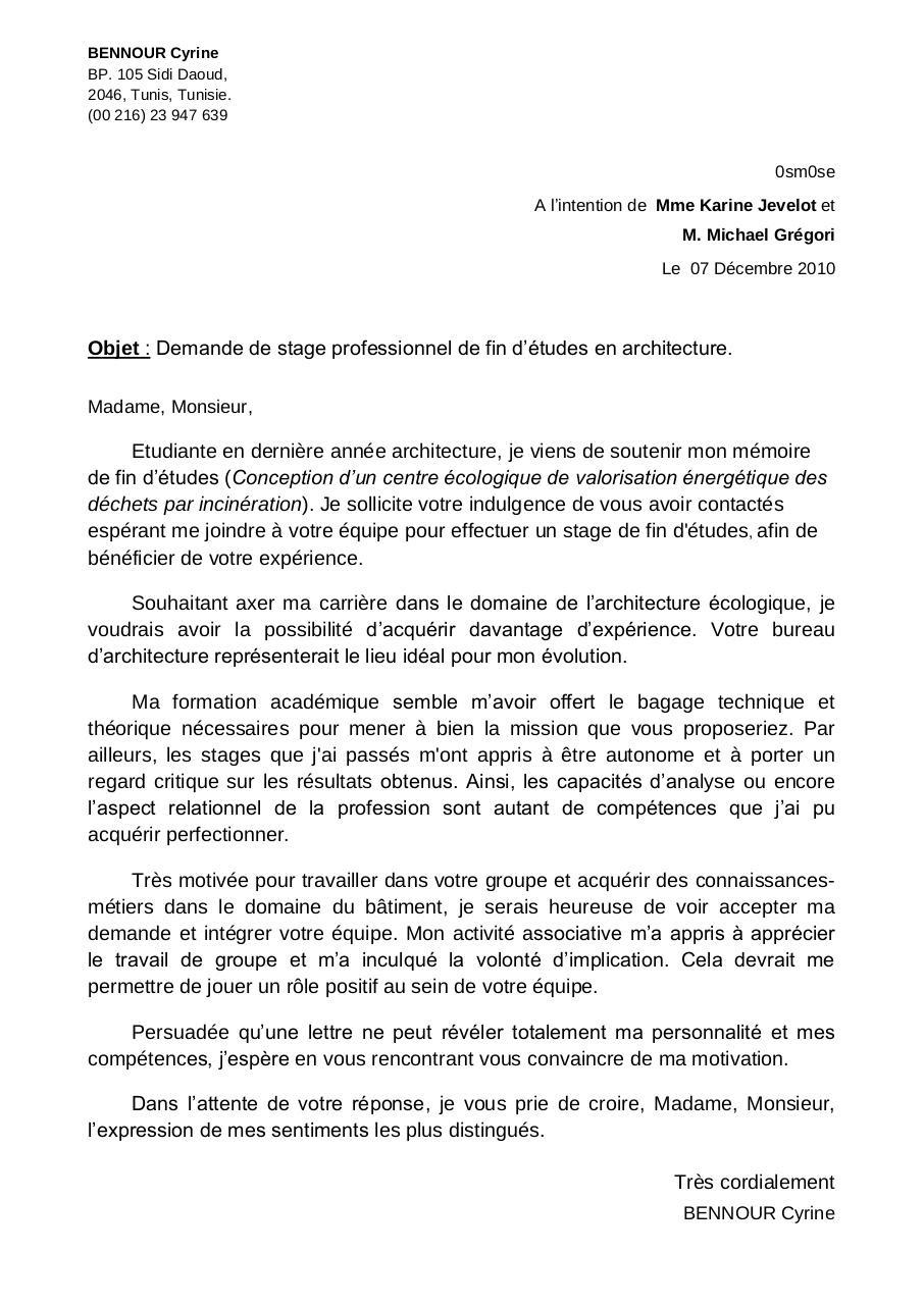 Lettre De Motivation Ecologie   Job Application Letter