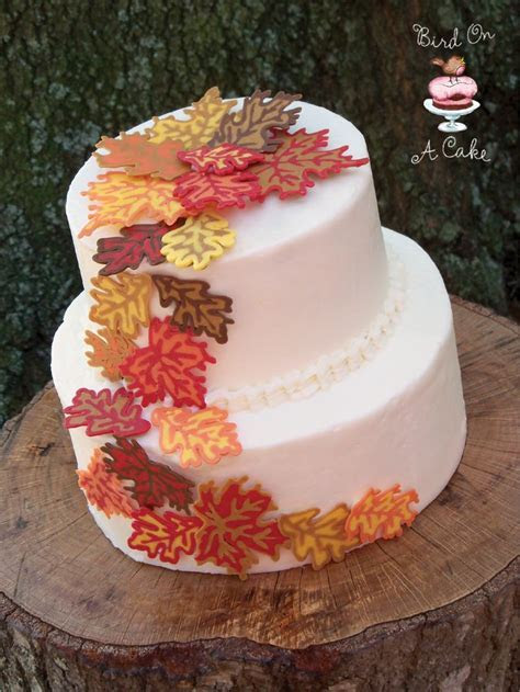 Candy Melt leaves made on wax paper and used to decorate a