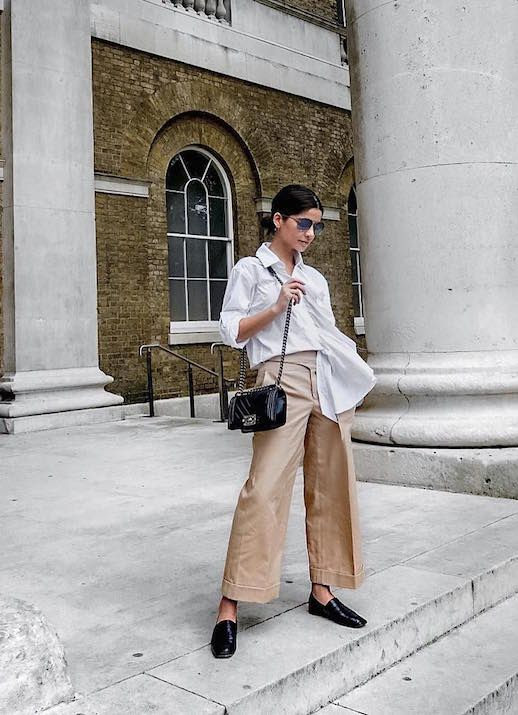 Le Fashion Blog Blogger Style Undone White Shirt Cropped Wide Leg Pants Chanel Bag Via @ Lainy Hedaya