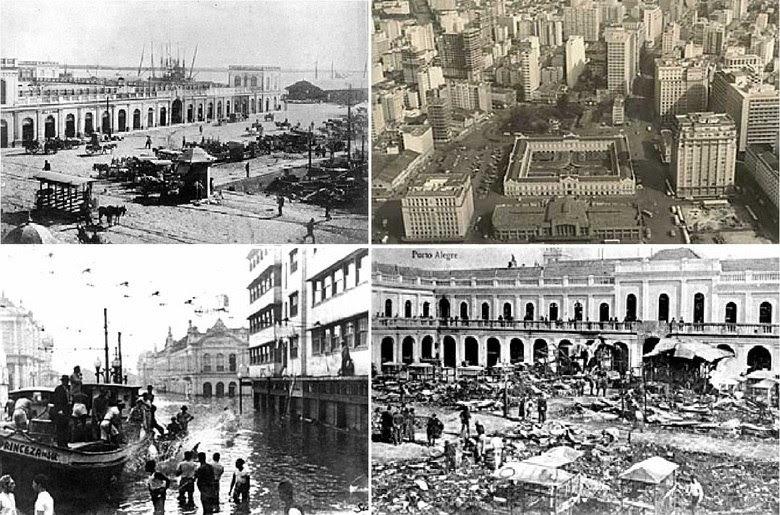 O incêndio que atingiu o Mercado Público de Porto Alegre na noite deste sábado (6) não é inédito na história do prédio. Nos anos de 1912, 1976 e 1979, o local também pegou fogo. Além das chamas, o mercado também sofreu com uma grande enchente, que alagou a cidade em 1941. O portão central possui até uma placa mostrando a altura que as águas chegaram