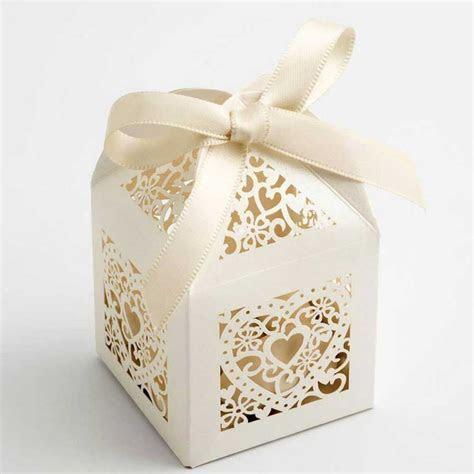 Ivory Laser Cut Heart Wedding Favour Boxes   Favour Boxes