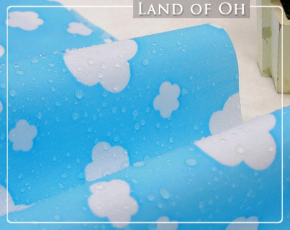 Waterproof Fabric Clouds on Blue per Yard 30365 - landofoh