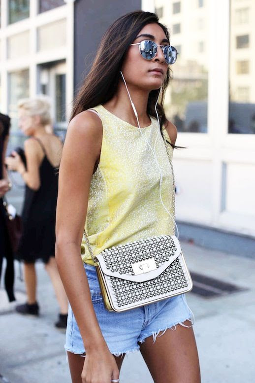 Le Fashion Blog Street Style Nyfw Round Mirrored Sunglasses Textured Yellow Sleeveless Top Embellished Crossbody Bag Via Fashionista