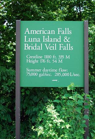 Sign for American Falls, Luna Island, & Bridal Veil Falls