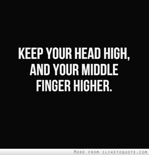 Keep Your Head High And Your Middle Finger Higher