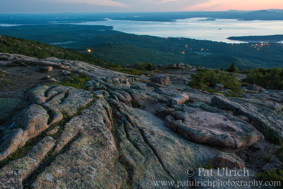 Photograph from the summit of Mount Cadillac in predawn light in Acadia National Park